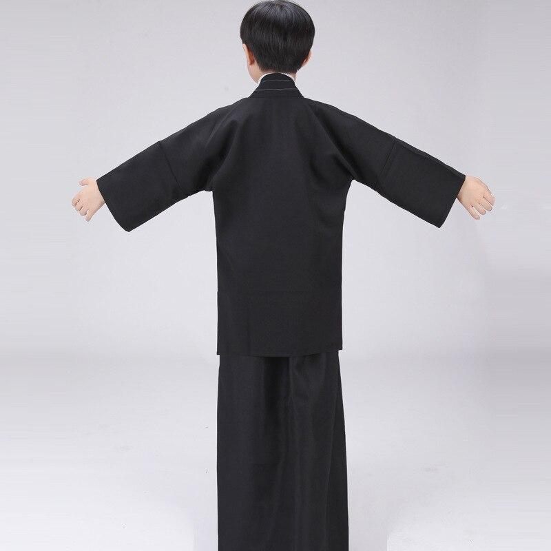 Siyah Japon Erkek Kimono Çocuk Savaşçı Geleneksel Kılıçlı - Ulusal Kıyafetler - Fotoğraf 4