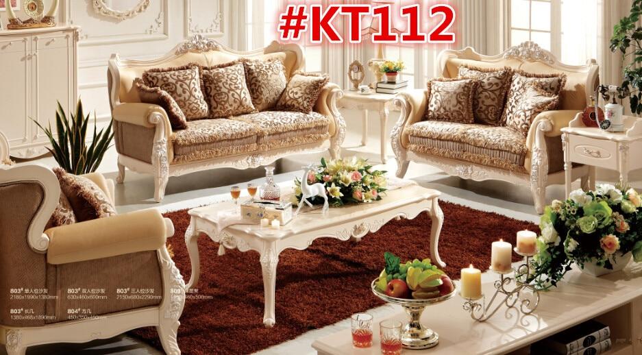 Beautiful Antique Antique Wooden Sofa Fabric Sofa KT112
