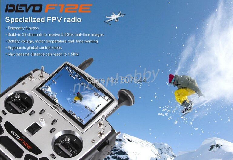 Walkera Devo F12E Specialized FPV 32 Channel Telemetry Radio 5.8Ghz 12 Channel LCD Screen Free Ship walkera aluminum case for devo f12e fpv radio 5 8ghz transmitter silver