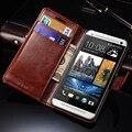 Ретро Кожаный Чехол Для HTC One M7 Флип Роскошный Флип единый Телефон Обложка Для HTC M7 Случаи С Карты держатели