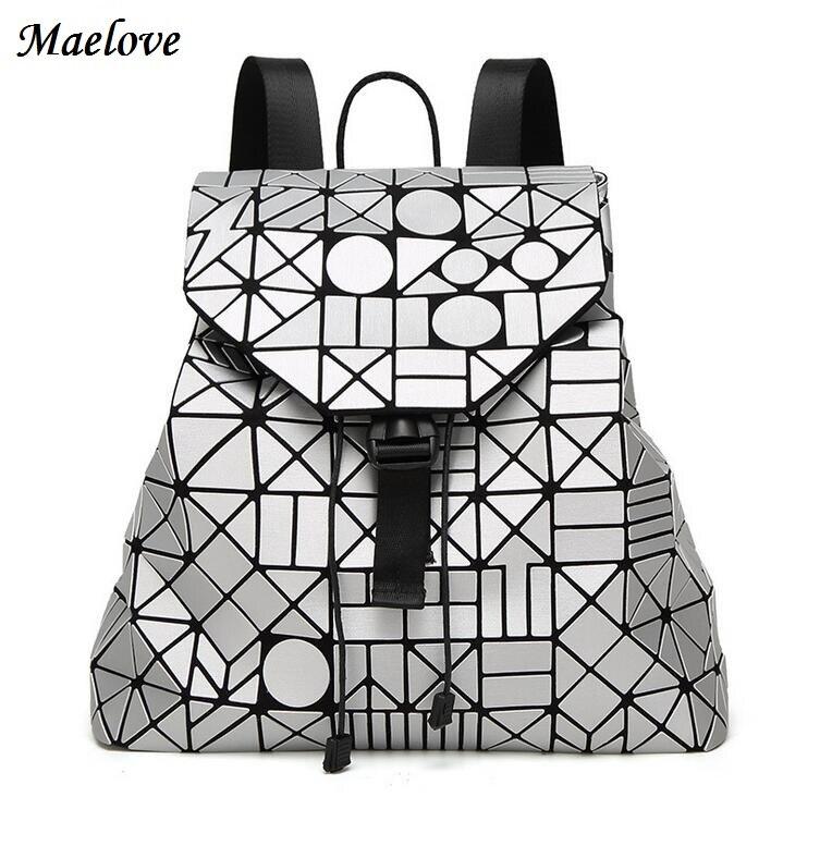 새로운 2019 여성 배낭 기하학 배낭 유명한 로고 가방 매트 표면 가방 학생 학교 packback 12 색