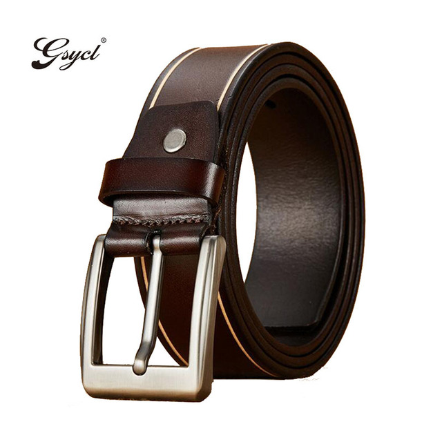 Gsycl 2017 New Luxury Genuine Leather Brand Name Belt For Men Jeans