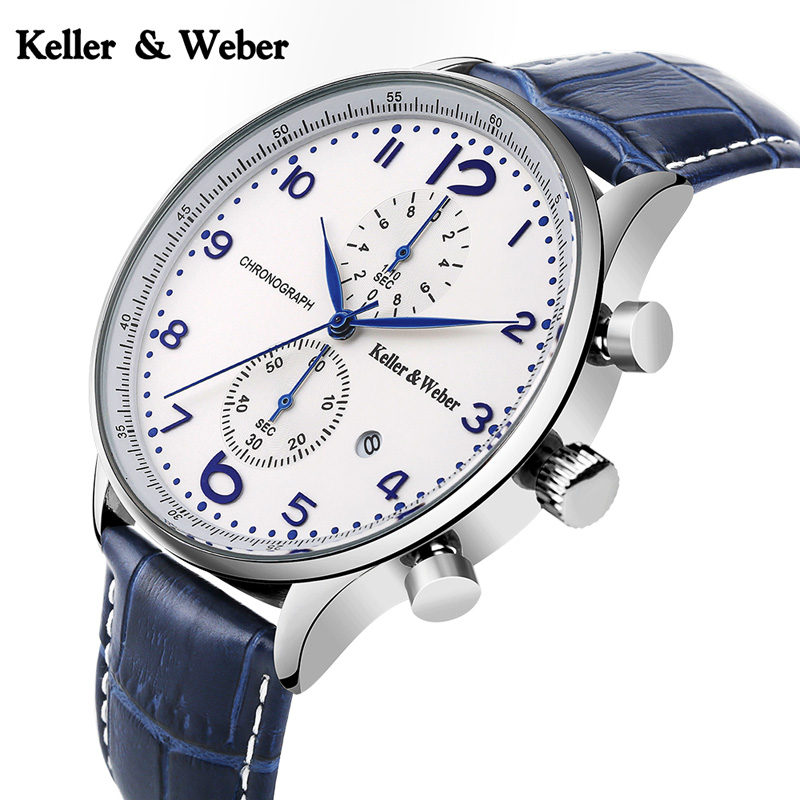 Keller & Weber Men's Top Brand Stops Chronograph Watches Genuine Leather 30 ATM Waterproof Wrist Watch Hours Clock with Calendar keller
