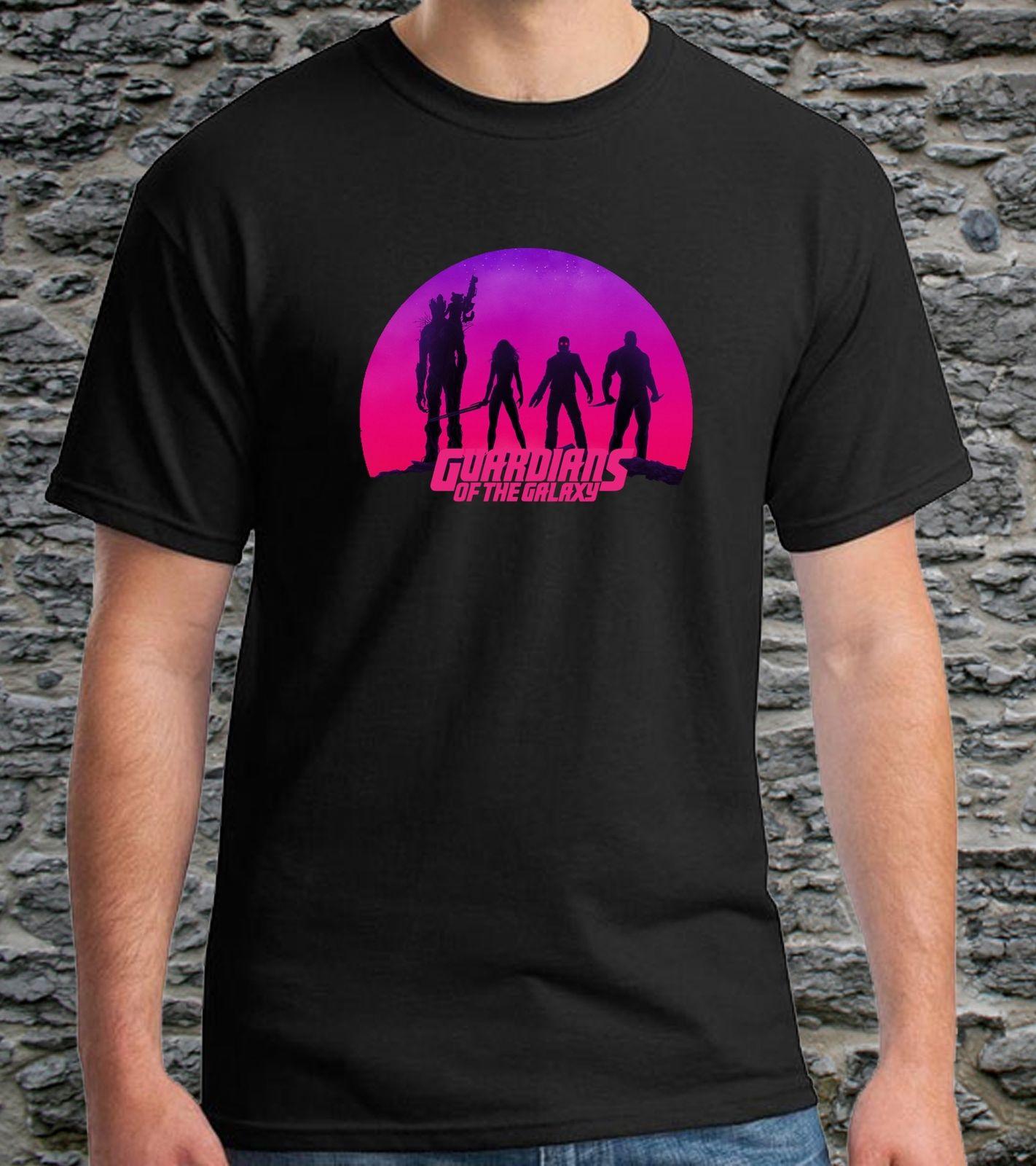 Guardians of the Galaxy 2 Black T-shirt Mens Tshirt S to 3XL Print T Shirt Men top tee