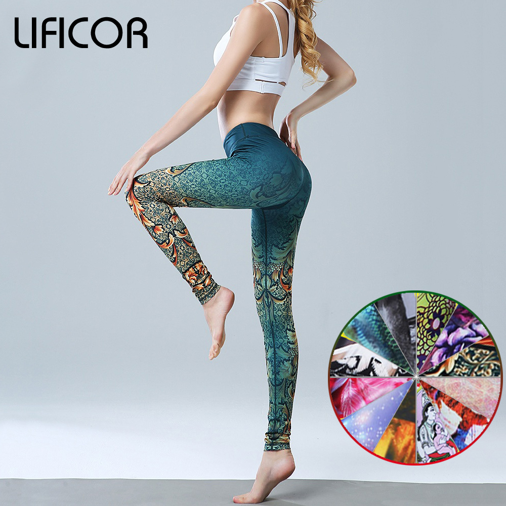 Women Yoga Pants Slim Fitness Leggings Running Sport Pants For Female Printed Gym Yoga Bottoms Leggings Sportswear floral print ombre yoga leggings