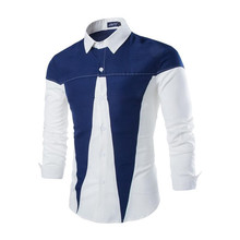 Brand New Men's Casual Shirt Social Contrast Color Triangle Patchwork Shirt Full Sleeve Turn Down Collar