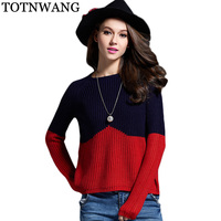Sueter Mujer 2017 Autumn Winter Fashion Female Hit Color Sweaters Round Neck Women Knitted Sweaters And