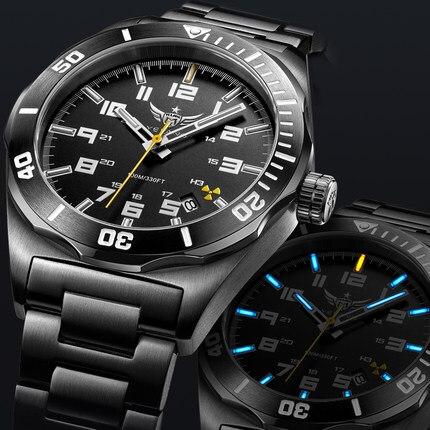 YELANG V1014 mens en acier et bracelet en cuir imperméable à l'eau 100 m tritium gaz auto lumineux d'affaires automatique montre mécanique