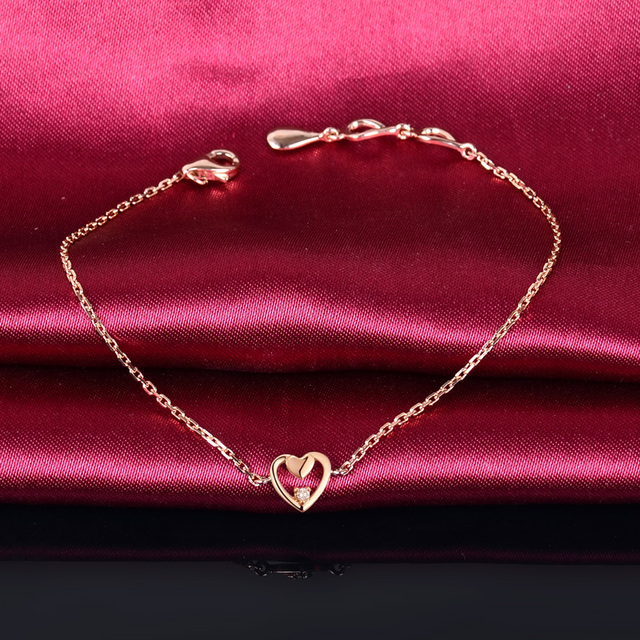 0.03ct Natural Diamond 18K Rose Gold Bracelet Heart Charm 18cm Wedding Engagement Party Jewelry for Women