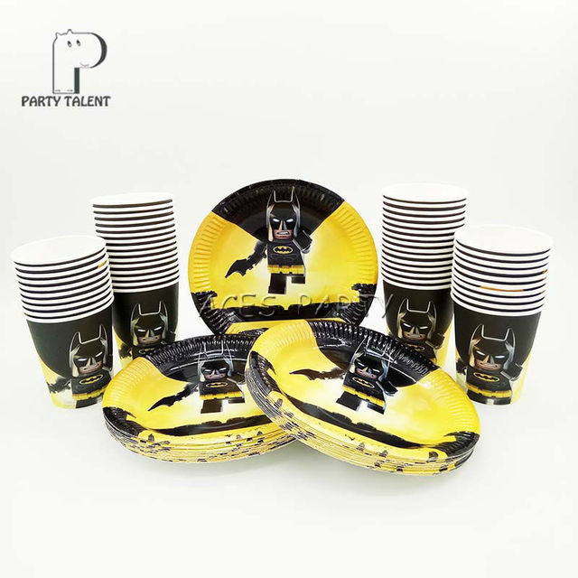 Party supplies 96pcs Batman theme party kids birthday party tableware set 48pcs plates dishes and & Party supplies 96pcs Batman theme party kids birthday party ...