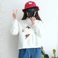 2016 Spring And Autumn New Women TAKA DAMOOSHU Harajuku Style Embroidery Playful Soft Sister Short Birdie