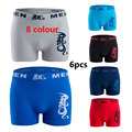 6Pcs The new polyester-cotton animal dragon pattern men's underwear Boxer Seamless seamless flat shorts Free shipping