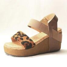 2ca82d1ad78 Été femmes léopard ouvert femmes gladiateur sandales chaussures en cuir  véritable Strappy Wedge cuir plate-forme chaussures .