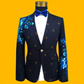 2017 Newest Blue Sequined Mens Formal Suit Jacket Blazer Fashion Blue Paillette Embroidered Performance Party Prom Blazers Mens