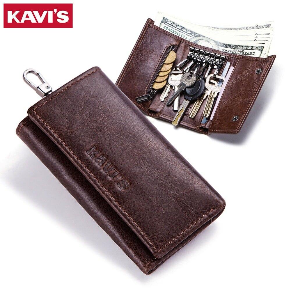KAVIS Genuine Leather Housekeeper font b Key b font font b Wallet b font Man Ring