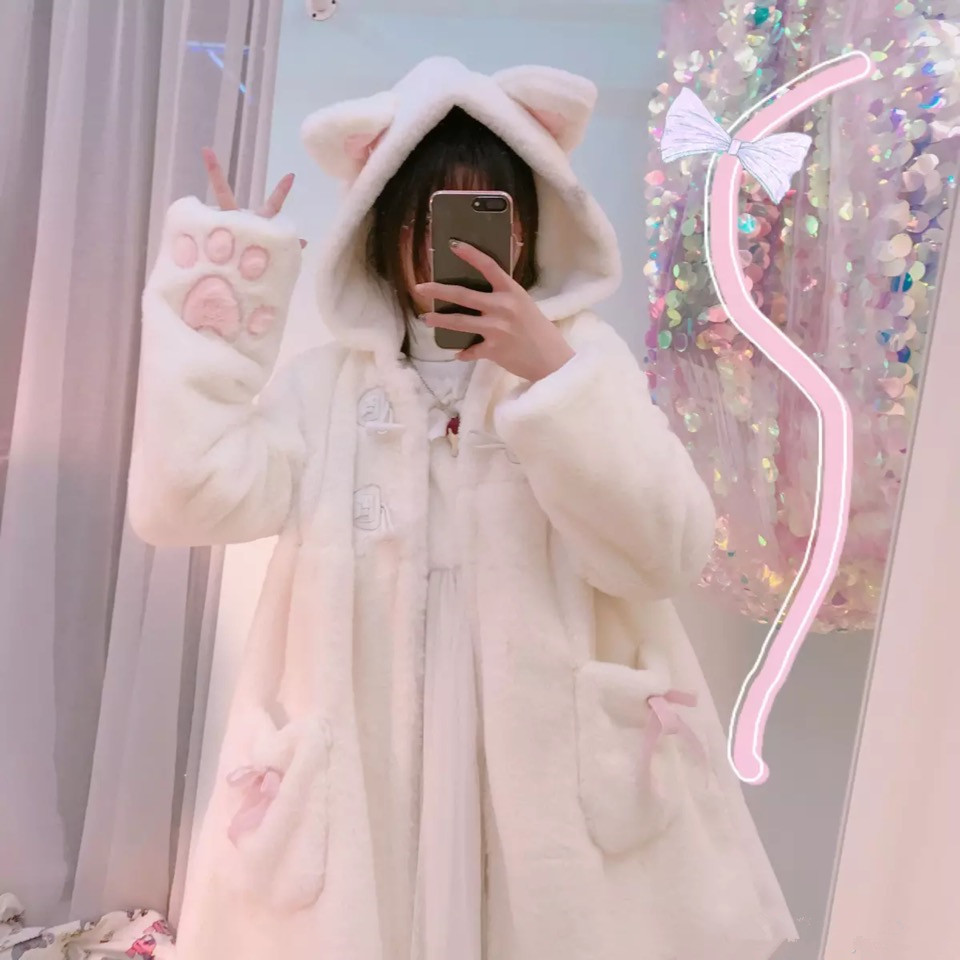 Women Winter Cartoon Coats Japanese Kawaii Sweet Cute Cat Paw Fake Fur Soft Sister Girls White