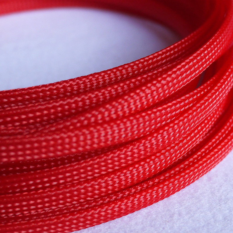 1M Red 6mm braided cables textile cord PET Expandable Sleeving High ...