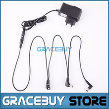 EU 9V DC 1A Guitar Effects fonte Pedal Power Supply/Source Adapter, Cord/Leads 3 Daisy Way Chain Cable pedal