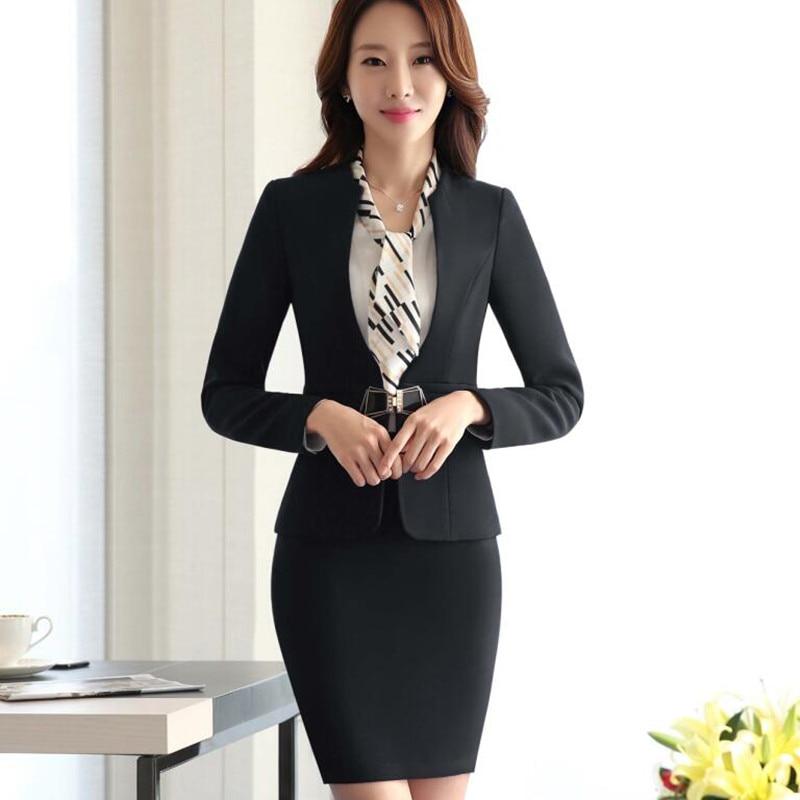 New fashion women skirt suit set Business interview formal long ...