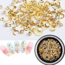 1pcs Metal Nail Studs 1BOX 3D Charm Moon Stars Hollow Rivets For Nails 6*9mm Art Decorations Gel Polish G35-25