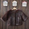 Alta Qualidade 2016 Inverno Casaco de Pele De Vison Preto para o menino Da Criança Casaco de Pele falso Manga Longa Roupas Meninas de Pele Outwear Garoto De Pele jaqueta