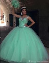 New 2016 Mint Green Quinceanera Dress Ball Gown Crystal Sequins Plus Size Ruffles Cheap Sweet 16 Dress Vestidos De 15 Anos QR68