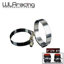 """WLR RACING-2 шт./лот SS304 """" CALMPS 79 мм-87 мм нержавеющая силиконовая турбо шланг муфта Т болт зажим Комплект Высокое качество WLR5254"""