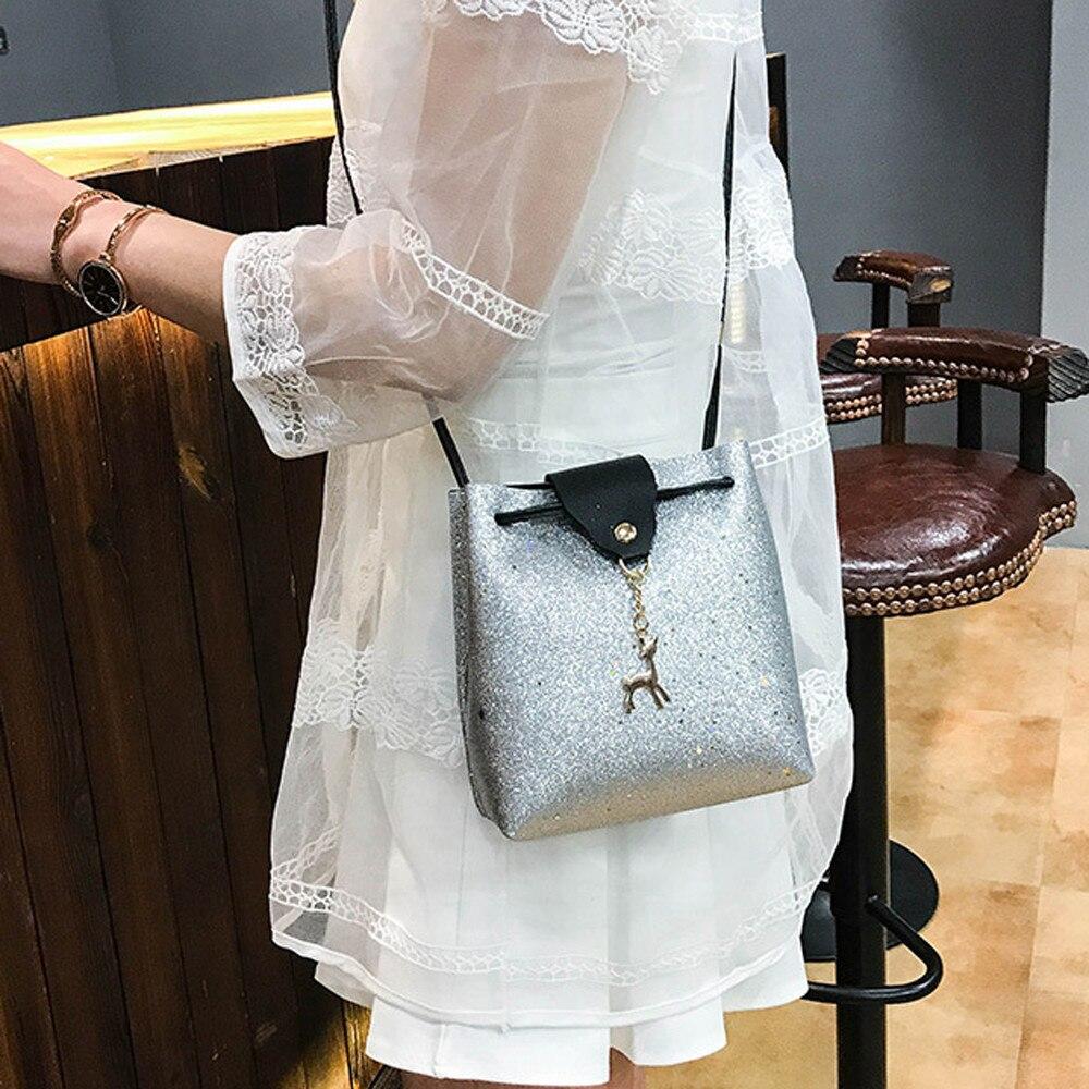 2018 Womens bags shiny Sequins Leather Crossbody Small Deer Shoulder  Messenger Bags for female Bolsas Feminina