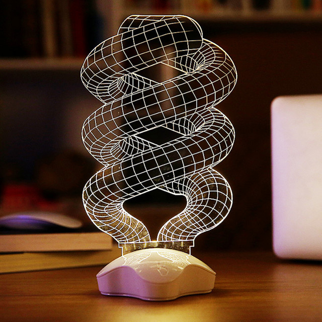 New Design DNA 3D Night Light Optical Illusion Home Decor LED Table ...