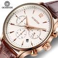 -Alto grau de Multi-função Moda Casual Relógios Homens Marca de Luxo Genuíno Couro À Prova D' Água relógio de Pulso de Quartzo Watch Canlendar