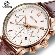 De alta calidad Multi-función de La Moda Casual Relojes Hombres Marca de Lujo Impermeable Del Cuarzo del Cuero Genuino Reloj Canlendar