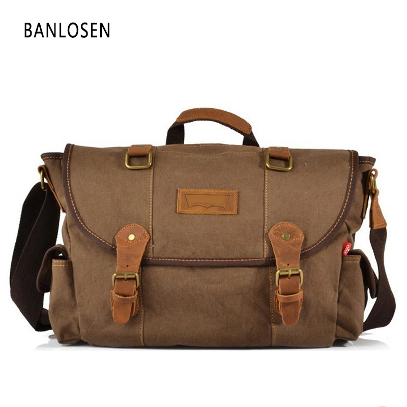 Men Vintage Canvas Messenger Bag Man Travel Bags Retro School Bag Military Style Handbag High Quality Men's Crossbody Bag augur 2017 canvas leather crossbody bag men military army vintage messenger bags shoulder bag casual travel school bags