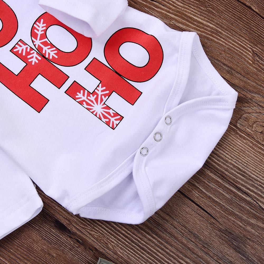 3PCS เด็กวัยหัดเดินเด็กคริสต์มาสเสื้อผ้าเด็ก 1 2 ปีแฟชั่นจดหมายพิมพ์ Romper + กางเกง + หมวกชุดเสื้อผ้าเด็กชาย