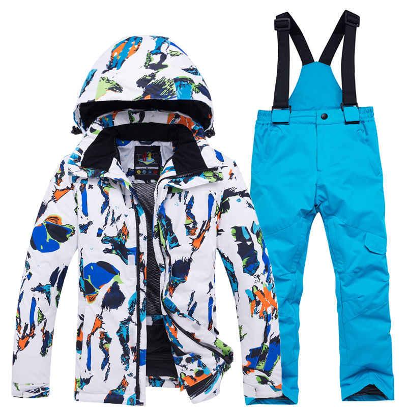 Теплый детский лыжный костюм Лыжная куртка для мальчиков и девочек, комплект со штанами, ветрозащитная водонепроницаемая куртка для сноуборда, зимние детские лыжные костюмы