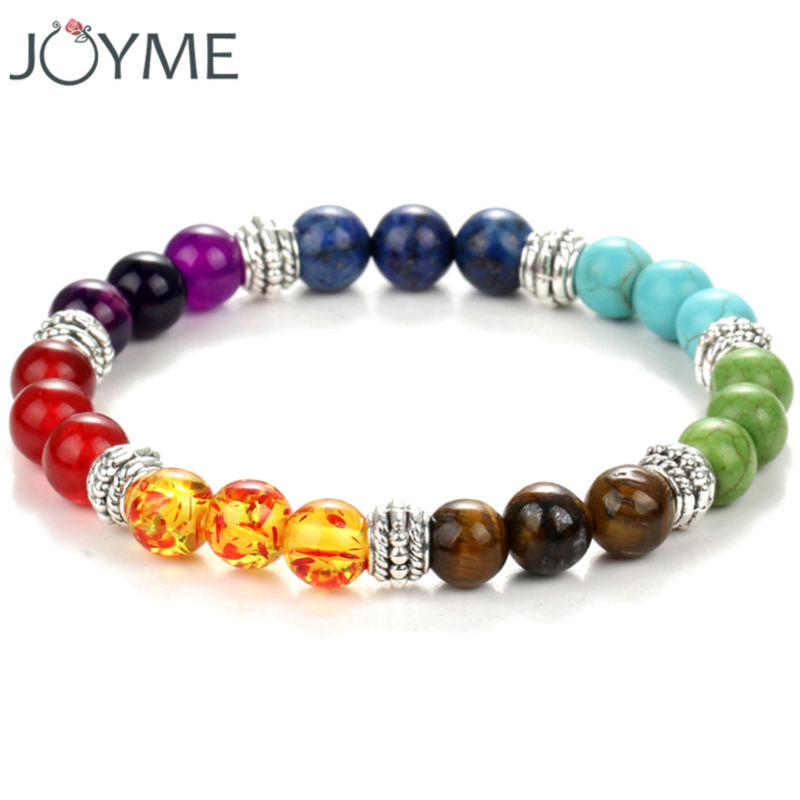 Colorful beaded chakra font b bracelet b font men with natural lava stone beads black and