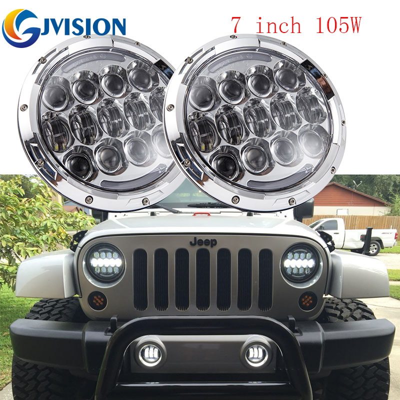 105W 7inch Round led headlight with White Daytime running light Amber turn signal for Jeep Wrangler Land Rover Defender 90 & 110 free shipping 7inch round headlight motorcycle automotive 4x4 offroad cruiser wind rover led daytime running lights