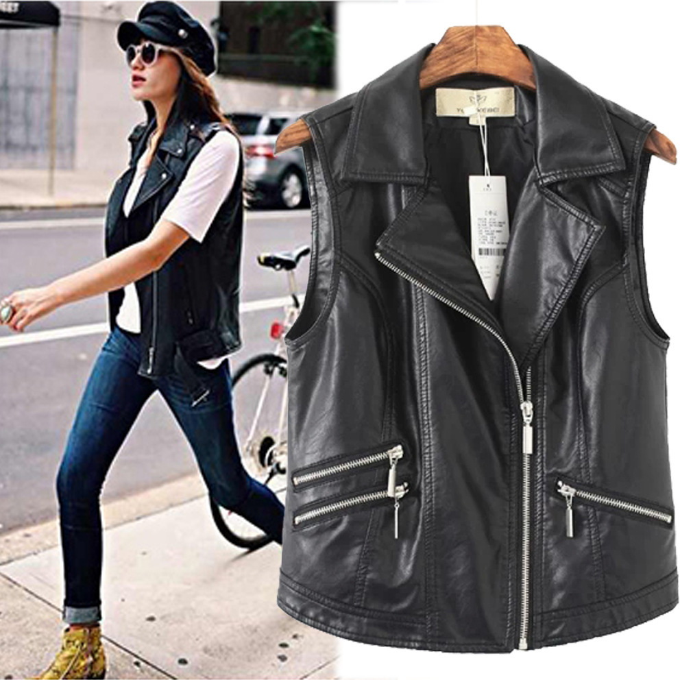 2015 NEW Slim Pu Leather Vest jackets women Waistcoat black Zipper Up  Motorcycle PU vest Coat sleeveless Punk Outerwear Tops-in Leather   Suede  from Women s ... a5f6384a84