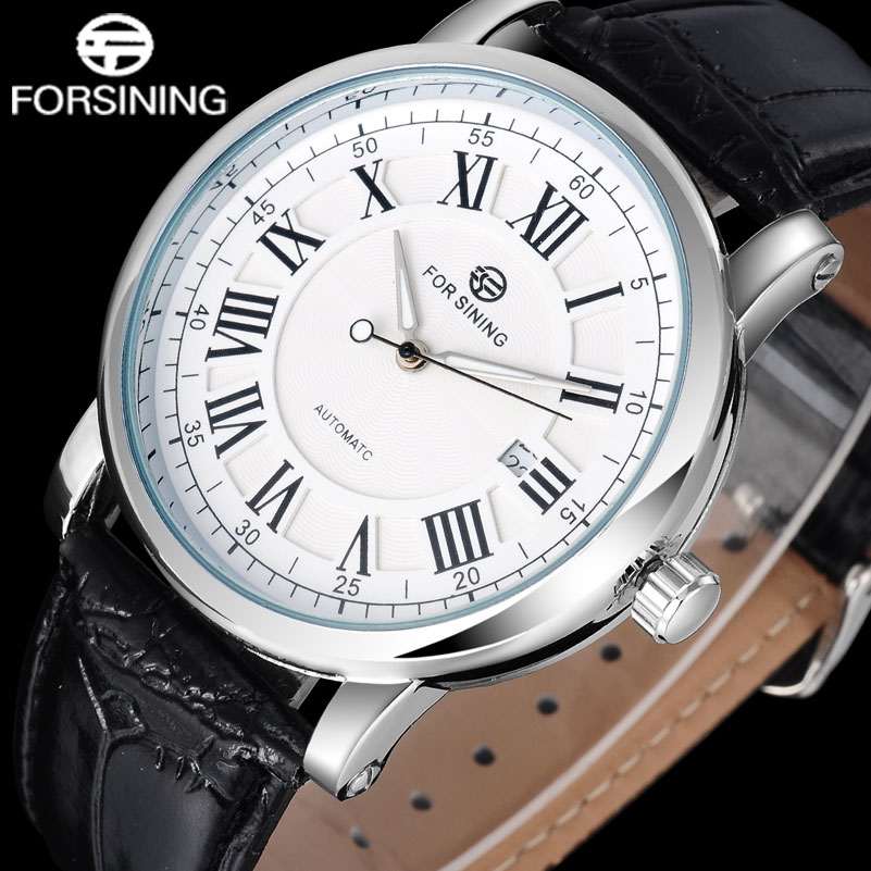 2017 FORSINING popular brand men watches simple automatic self wind watch white dial auto date Roman numerals leather band roman numerals dial artificial leather watch