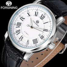2016 FORSINING popular brand men watches simple automatic self wind watch white dial auto date Roman numerals leather band forsining 2016 fashion brand luxury leather strap dress automatic mechanical self wind men analog watch auto date for man watch