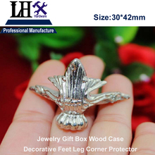 LHX P0YP85 4pcs/lot Antique Silver Zinc Alloy Stripes Jewelry Gift Box Wood Case Furniture Decorative Feet Leg Corner Protector