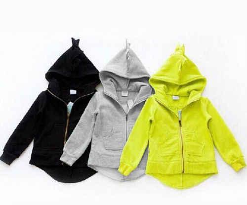 2017 מותג חדש לפעוטות ילד ילדי ילד בנות בעלי חיים דינוזאור שרוול ארוך סתיו הלבשה עליונה ברדס מעיל מעיל בגדי 1-7 T