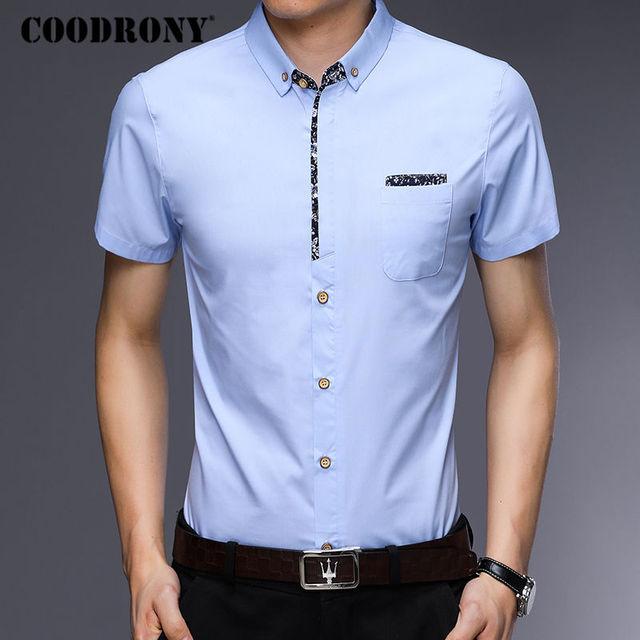 Men Short Sleeve Summer Business Casual Cotton Modern Elegant Shirt