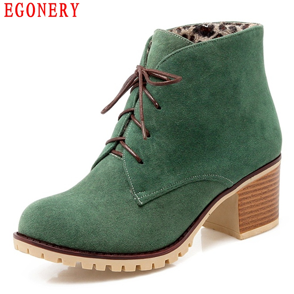 EGONERY Casual Lace Up Square High Heels Nubuck Womens Ankle Shoes Woman Spring Autumn Riding Boots egonery quality pointed toe ankle thick high heels womens boots spring autumn suede nubuck zipper ladies shoes plus size