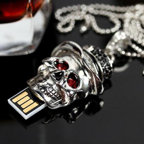 Genuine Capacity USB Flash Drive 8GB 16GB 32GB 64GB, Skull Pen Driver, Gift USB Flash Disk, Jewelry USB Flash Drive Pendrive Key