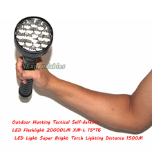 Outdoor Hunting Tactical Self-defense LED Flashlight 20000LM XM-L 15*T6 LED Light Super Bright Torch Lighting Distance 1500M