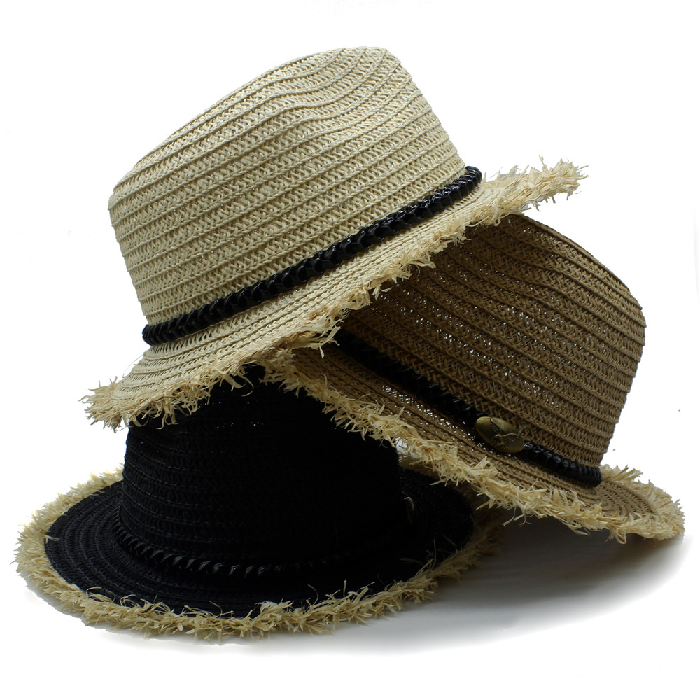 LUCKYLIANJI Unisex Fashion Raffia Straw Hat Summer Beach Travel - Accesorios para la ropa - foto 2