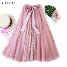 2019 New Fashion Mesh Tulle Skirt Women Lace midi skirt Female Spring summer elegant A-Line high waist Tutu Pleated
