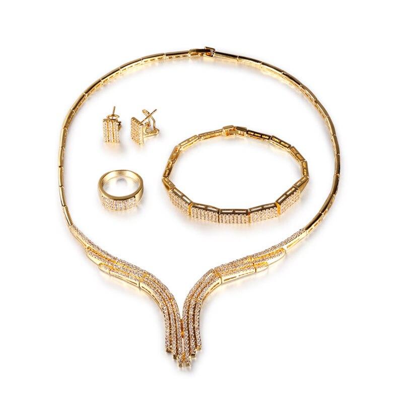FUYIJIA Inlaid Zircon 18K Gold Jewelry Sets Women New Four-piece Jewellery Luxury Dubai Jewelry Sets Fashion Silver Necklace SetFUYIJIA Inlaid Zircon 18K Gold Jewelry Sets Women New Four-piece Jewellery Luxury Dubai Jewelry Sets Fashion Silver Necklace Set