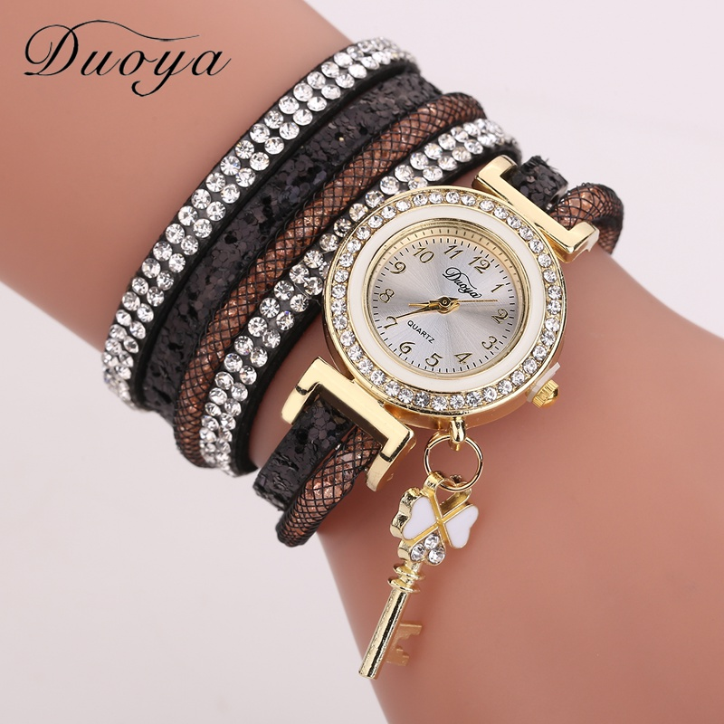 Duoya Brand 2018 Fashion Casual Women Bracelet Watch Fashion Luxury Gold Key Pendant Crystal Dress Quartz Wristwatch DY153