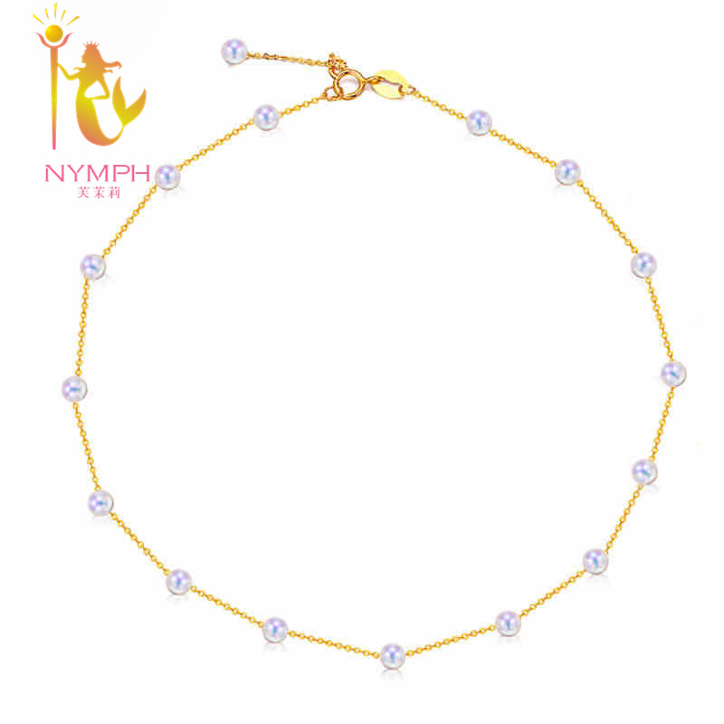 [NYMPHE] Marque 18 K Jaune or fine perle bijoux, véritable forme ronde perle d'eau douce collier pour partie N03